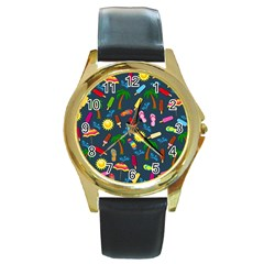 Beach Pattern Round Gold Metal Watch by Valentinaart