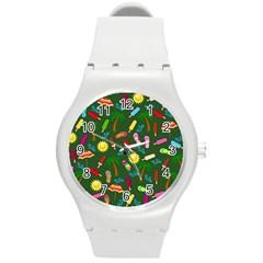 Beach Pattern Round Plastic Sport Watch (m) by Valentinaart