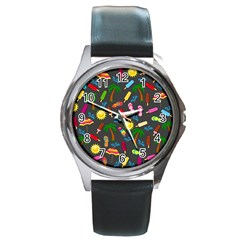 Beach Pattern Round Metal Watch by Valentinaart