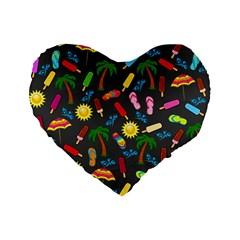 Beach Pattern Standard 16  Premium Flano Heart Shape Cushions by Valentinaart