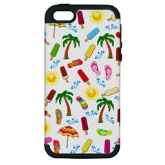 Beach Pattern Apple Iphone 5 Hardshell Case (pc+silicone) by Valentinaart
