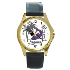 Surf   Laguna Round Gold Metal Watch by Valentinaart
