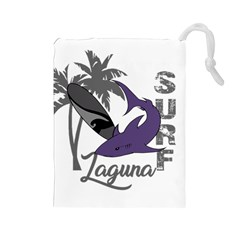 Surf   Laguna Drawstring Pouches (large)  by Valentinaart