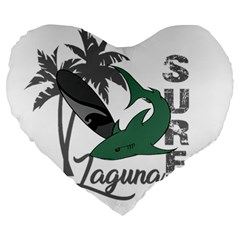 Surf   Laguna Large 19  Premium Heart Shape Cushions by Valentinaart