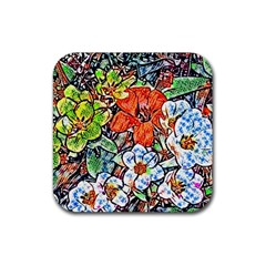 Hot Flowers 02 Rubber Coaster (square)  by MoreColorsinLife
