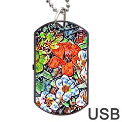 Hot Flowers 02 Dog Tag Usb Flash (one Side) by MoreColorsinLife
