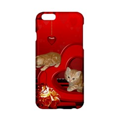 Cute, Playing Kitten With Hearts Apple Iphone 6/6s Hardshell Case by FantasyWorld7