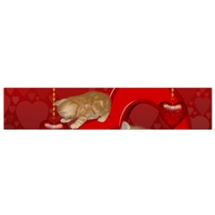 Cute, Playing Kitten With Hearts Flano Scarf (small) by FantasyWorld7