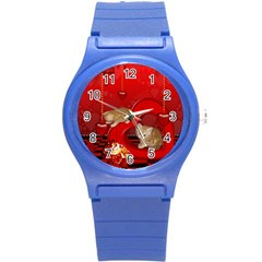 Cute, Playing Kitten With Hearts Round Plastic Sport Watch (s) by FantasyWorld7
