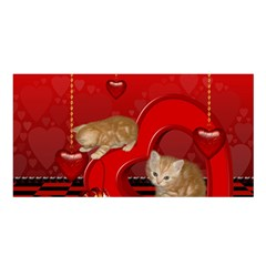 Cute, Playing Kitten With Hearts Satin Shawl by FantasyWorld7