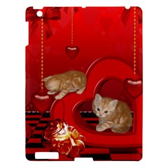 Cute, Playing Kitten With Hearts Apple Ipad 3/4 Hardshell Case by FantasyWorld7