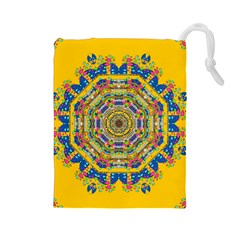 Happy Fantasy Earth Mandala Drawstring Pouches (large)  by pepitasart