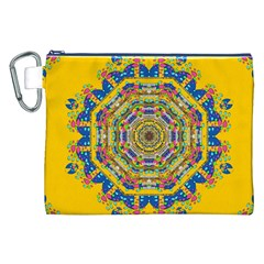 Happy Fantasy Earth Mandala Canvas Cosmetic Bag (xxl) by pepitasart