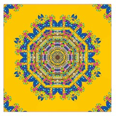 Happy Fantasy Earth Mandala Large Satin Scarf (square) by pepitasart