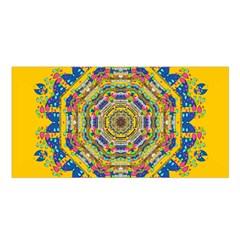 Happy Fantasy Earth Mandala Satin Shawl by pepitasart