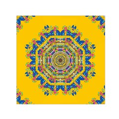 Happy Fantasy Earth Mandala Small Satin Scarf (square) by pepitasart