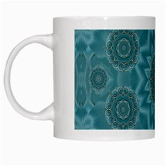 Wood And Stars In The Blue Pop Art White Mugs by pepitasart