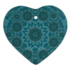 Wood And Stars In The Blue Pop Art Heart Ornament (two Sides) by pepitasart