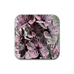 Wonderful Silky Flowers A Rubber Square Coaster (4 Pack)  by MoreColorsinLife