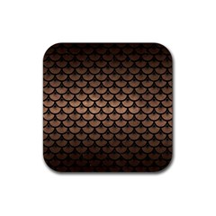 Scales3 Black Marble & Bronze Metal (r) Rubber Coaster (square) by trendistuff