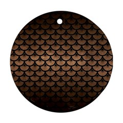 Scales3 Black Marble & Bronze Metal (r) Round Ornament (two Sides) by trendistuff
