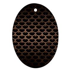 Scales3 Black Marble & Bronze Metal Ornament (oval) by trendistuff