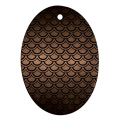 Scales2 Black Marble & Bronze Metal (r) Oval Ornament (two Sides) by trendistuff