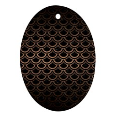 Scales2 Black Marble & Bronze Metal Oval Ornament (two Sides) by trendistuff
