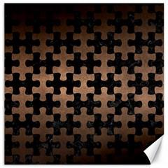Puzzle1 Black Marble & Bronze Metal Canvas 16  X 16  by trendistuff