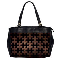 Puzzle1 Black Marble & Bronze Metal Oversize Office Handbag by trendistuff