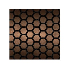 Hexagon2 Black Marble & Bronze Metal (r) Small Satin Scarf (square) by trendistuff