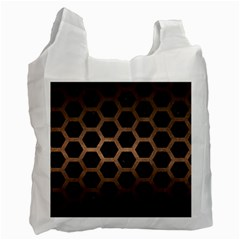 Hexagon2 Black Marble & Bronze Metal Recycle Bag (one Side) by trendistuff