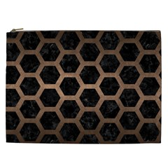Hexagon2 Black Marble & Bronze Metal Cosmetic Bag (xxl) by trendistuff