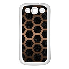 Hexagon2 Black Marble & Bronze Metal Samsung Galaxy S3 Back Case (white) by trendistuff