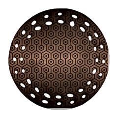 Hexagon1 Black Marble & Bronze Metal (r) Round Filigree Ornament (two Sides) by trendistuff