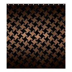 Houndstooth2 Black Marble & Bronze Metal Shower Curtain 66  X 72  (large) by trendistuff