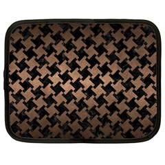 Houndstooth2 Black Marble & Bronze Metal Netbook Case (xxl) by trendistuff