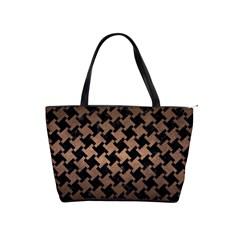 Houndstooth2 Black Marble & Bronze Metal Classic Shoulder Handbag by trendistuff