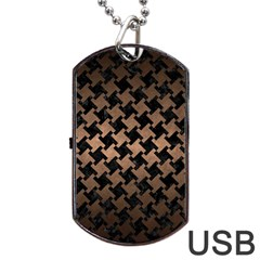 Houndstooth2 Black Marble & Bronze Metal Dog Tag Usb Flash (one Side) by trendistuff