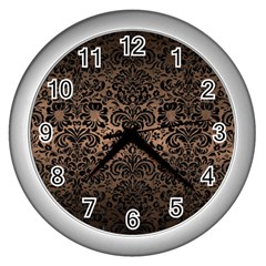 Damask2 Black Marble & Bronze Metal (r) Wall Clock (silver) by trendistuff