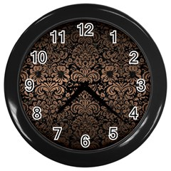 Damask2 Black Marble & Bronze Metal Wall Clock (black) by trendistuff