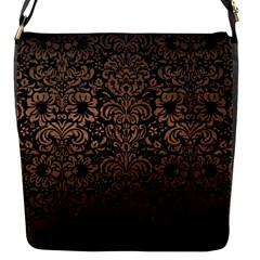 Damask2 Black Marble & Bronze Metal Flap Closure Messenger Bag (s) by trendistuff