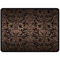 Damask2 Black Marble & Bronze Metal Double Sided Fleece Blanket (large) by trendistuff
