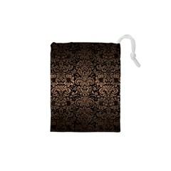 Damask2 Black Marble & Bronze Metal Drawstring Pouch (xs) by trendistuff