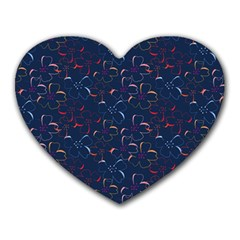 Colorful Floral Patterns Heart Mousepads by berwies