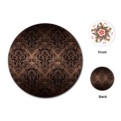 Damask1 Black Marble & Bronze Metal (r) Playing Cards (round) by trendistuff