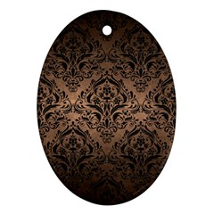 Damask1 Black Marble & Bronze Metal (r) Oval Ornament (two Sides) by trendistuff