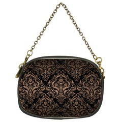 Damask1 Black Marble & Bronze Metal Chain Purse (two Sides) by trendistuff