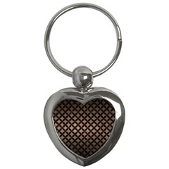 Circles3 Black Marble & Bronze Metal (r) Key Chain (heart) by trendistuff