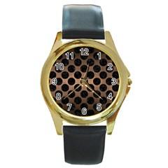 Circles2 Black Marble & Bronze Metal (r) Round Gold Metal Watch by trendistuff